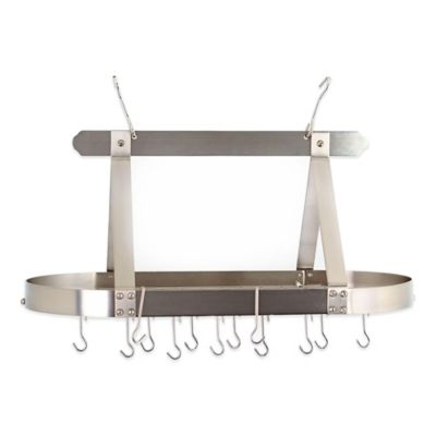 Old Dutch International Hanging 16-Hook Pot Rack in Satin Nickel