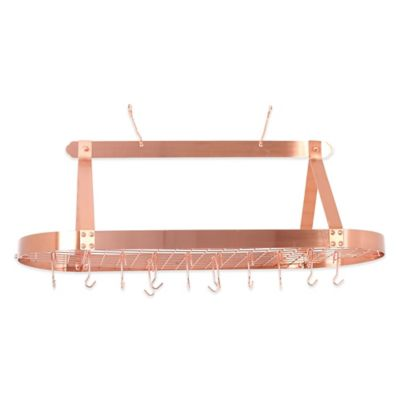 Old Dutch International Hanging 24-Hook Pot Rack in Satin Copper