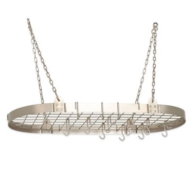 Old Dutch International 12-Hook Oval Hanging Pot Rack in Satin Nickel