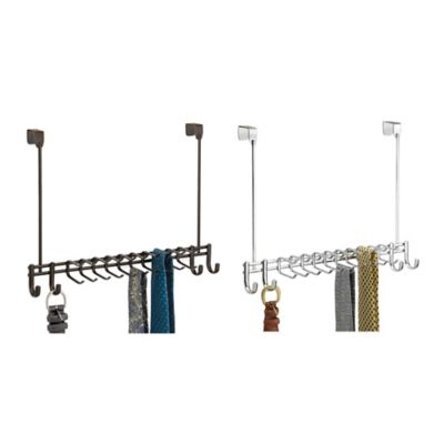 InterDesign® Axis Over-the-Door 24-Hook Belt & Tie Rack in Bronze