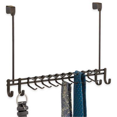 InterDesign® Axis Over-the-Door 24-Hook Belt & Tie Rack in Bronze