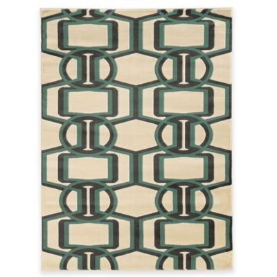 Linon Home Roma Collection Bridle 5-Foot 3-Inch x 7-Foot Rug in Beige/Turquoise/Grey