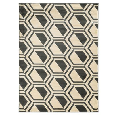 Linon Home Roma Collection Comb 2-Foot x 3-Foot Rug in Grey/Charcoal