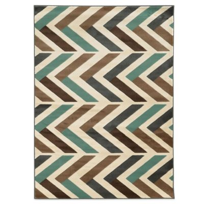 Linon Home Roma Collection Herringbone 2-Foot x 3-Foot Rug in Ivory/Turquoise