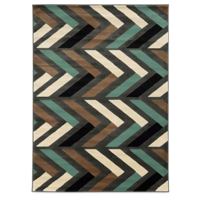 Linon Home Roma Collection Herringbone 8-Foot x 10-Foot Rug in Grey/Turquoise