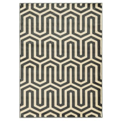 Linon Home Roma Collection Tangent 2-Foot x 3-Foot Accent Rug in Ivory/ Beige