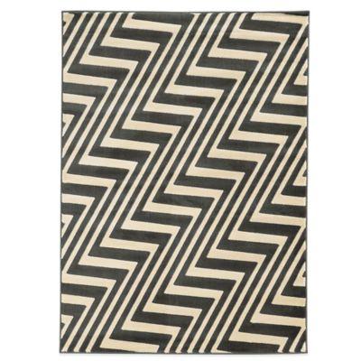 Linon Home Zigzag 2-Foot x 3-Foot Rug in Charcoal/Grey