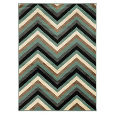 Linon Home Roma Collection Chevron 2-Foot x 3-Foot Rug in Ivory/Turquoise