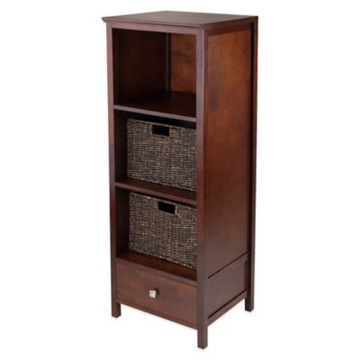 Winsome Trading Brooke Jelly Cupboard with Drawer and 2 Baskets in Antique Walnut