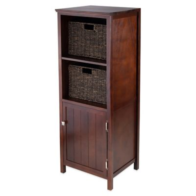 Winsome Trading Brooke Jelly Cupboard with Cabinet and 2 Baskets in Antique Walnut