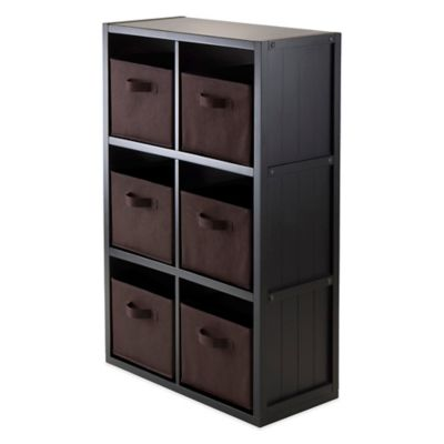 Winsome Trading Timothy 3-Tier Shelf with 6 Fabric Baskets in Black