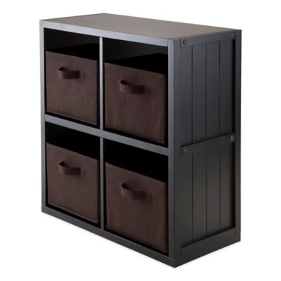 Winsome Trading Timothy 2-Tier Shelf with 4 Fabric Baskets in Black