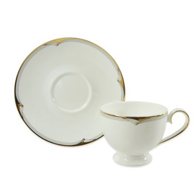 White Gold Teacup and Saucer