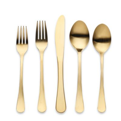 Herdmar® Portofino 5-Piece Flatware Place Setting in Matte Gold