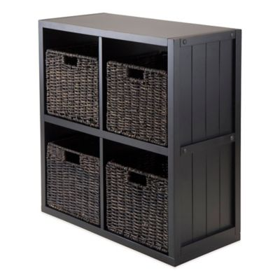 Winsome Trading Timothy 2-Tier Shelf with 4 Woven Baskets in Black
