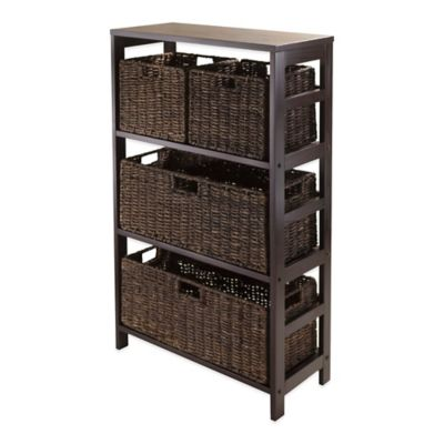 Winsome Trading Granville 3-Tier Storage Shelf with 4 Baskets in Antique Walnut