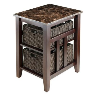 Winsome Trading Zoey Side Table with Faux Marble and Baskets in Antique Walnut