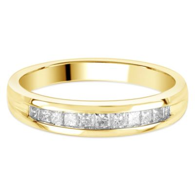 14K Gold .25 cttw Princess-Cut Diamond Size 7.5 Ladies' Channel-Set Wedding Band