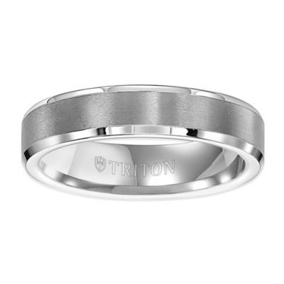 Triton® White Tungsten Carbide Beveled Edge Size 9 Men's Comfort-Fit Wedding Band