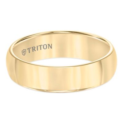 Triton® Yellow Tungsten Carbide Domed Size 8 Men's Comfort-Fit Wedding Band