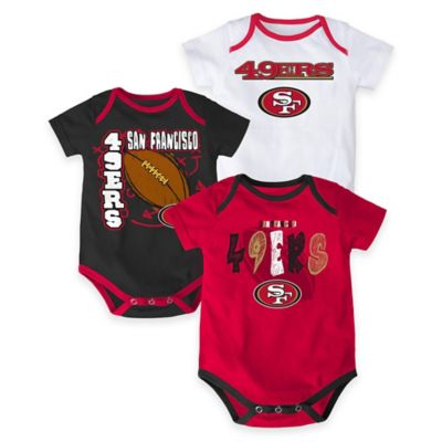 "NFL San Francisco 49ers ""3 Point Spread"" Size 3-6M Bodysuit Set (Set of 3)"