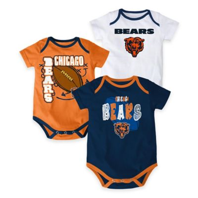 "NFL Chicago Bears ""3 Point Spread"" Size 18M Bodysuit Set (Set of 3)"