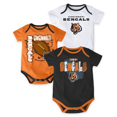 "NFL Cincinnati Bengals ""3 Point Spread"" Size 0-3M Bodysuit Set (Set of 3)"