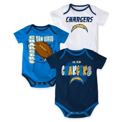 "NFL San Diego Chargers ""3 Point Spread"" Size 3-6M Bodysuit Set (Set of 3)"
