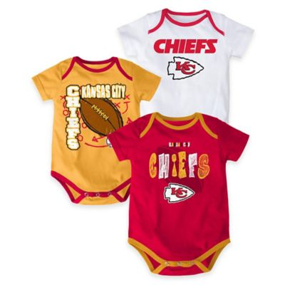 "NFL Kansas City Chiefs ""3 Point Spread"" Size 3-6M Bodysuit Set (Set of 3)"