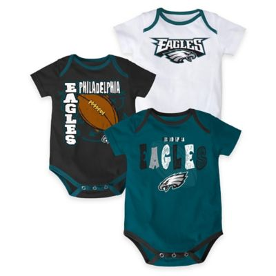 "NFL Philadelphia Eagles ""3 Point Spread"" Size 18M Body Suit Set (Set of 3)"