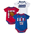 NFL New York Giants  3 Point Spread  Size 3-6M Bodysuit Set (Set of 3)