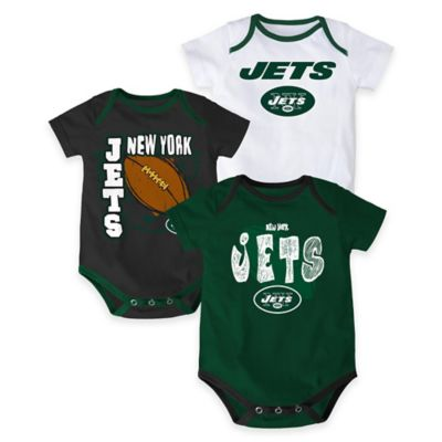 "NFL New York Jets ""3 Point Spread"" Size 0-3M Bodysuit Set (Set of 3)"