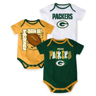 "NFL Green Bay Packers ""3 Point Spread"" Size 18M Bodysuit Set (Set of 3)"