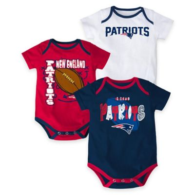 "NFL New England Patriots ""3 Point Spread"" Size 6-9M Bodysuit Set (Set of 3)"