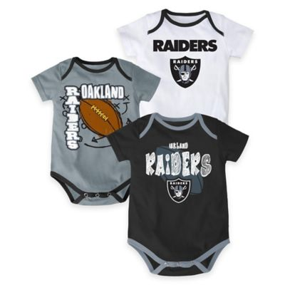 "NFL Oakland Raiders ""3 Point Spread"" Size 6-9M Bodysuit Set (Set of 3)"