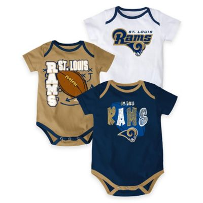 "NFL St. Louis Rams ""3 Point Spread"" Size 0-3M Body Suit Set (Set of 3)"