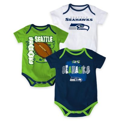 "NFL Seattle Seahawks ""3 Point Spread"" Size 24M Bodysuit Set (Set of 3)"