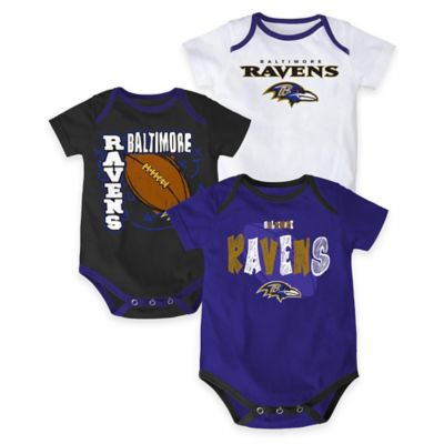 "NFL Baltimore Ravens ""3 Point Spread"" Size 0-3M Bodysuit Set (Set of 3)"