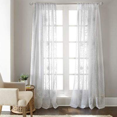 Gerbera Daisy 63-Inch Sheer Window Panel in White