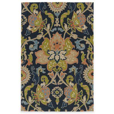 Kaleen Home & Porch Damask Floral 5-Foot x 7-Foot 6-Inch Indoor/Outdoor Rug in Navy