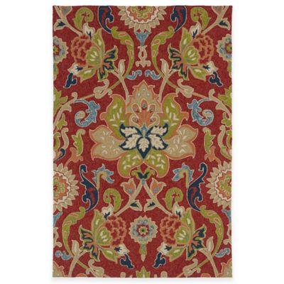 Kaleen Home & Porch Damask Floral 2-Foot x 3-Foot Indoor/Outdoor Rug in Navy