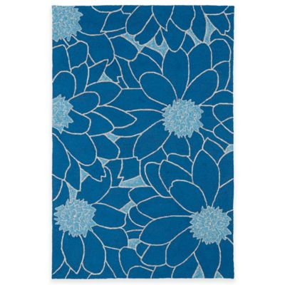 Kaleen Home & Porch Floral 3-Foot x 5-Foot Indoor/Outdoor Rug in Blue