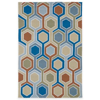 Kaleen Home & Porch Geometric 5-Foot 9-Inch Round Indoor/Outdoor Rug in Chino