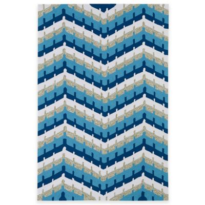 Kaleen Home & Porch Chevron 7-Foot 9-Inch Round Indoor/Outdoor Rug in Blue