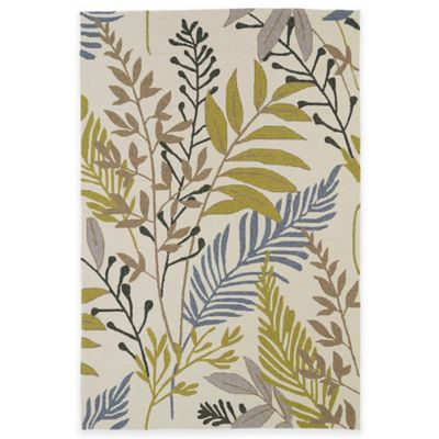Kaleen Home & Porch Floral Leaves 5-Foot x 7-Foot 6-Inch Indoor/Outdoor Rug in Sand