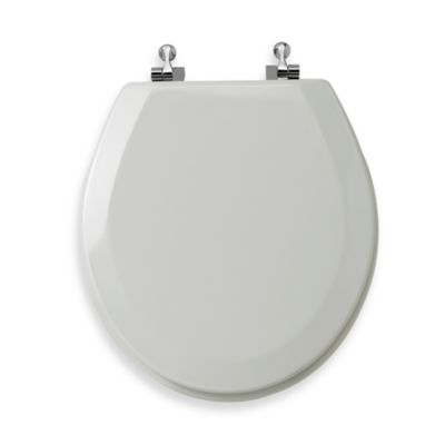 Mayfair® Round White Molded Wood Toilet Seat with Chrome Hinge
