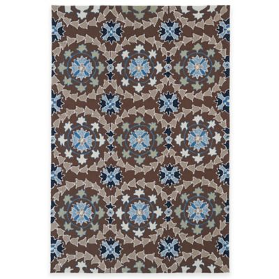 Kaleen Home & Porch Medallion 5-Foot 7-Foot Indoor/Outdoor Rug in Brown