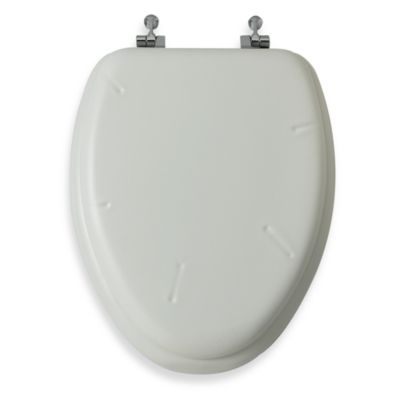 Mayfair® White Elongated Cushioned Vinyl Soft Toilet Seat with Chrome Hinge