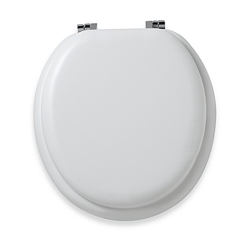 Mayfair® Round White Cushioned Vinyl Soft Toilet Seat with Chrome Hinge