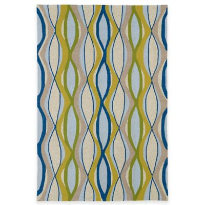 Kaleen Home & Porch Wavy 5-Foot x 7-Foot Indoor/Outdoor Rug in Blue